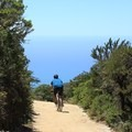 Mountain biker on North Peak Access Road.- Montara Mountain