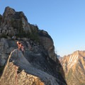 The exposed and scenic descent route.- South Early Winter Spire: Southwest Rib