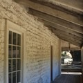 Limestone coating helped preserve the adobe from the elements. - Sanchez Adobe