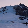 Early morning light on Mount Hood's south side.- Mount Hood: West Crater Rim Descent
