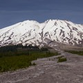 View of Mount St. Helens (8,365') on the drive toward the Ape Canyon Trail.- Ape Canyon