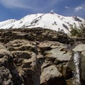 Looking up at Mount St. Helens from Ape Canyon.- Ape Canyon