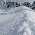 Leaving the Hogsback and traversing to the Old Chute.- Mount Hood: West Crater Rim Descent