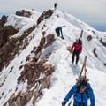 A bit of exposure on the summit ridge.- Mount Hood: West Crater Rim Descent
