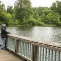 Lake Boran Park fishing dock.- Lake Boran Park