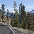 Biking up the Lassen Park Road to Lassen Peak (10,457').- Lassen Peak: Southeast Face Backcountry Ski