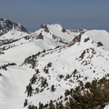 From right to left: Eagle Peak (9,222'), Pilot Pinnacle (8,886'), Mount Diller (9,087'), and Brokeoff Mountain (9,235').- Lassen Peak: Southeast Face Backcountry Ski