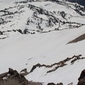 Looking down Lassen's east face.- Lassen Peak: Southeast Face Backcountry Ski