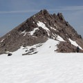 Lassen Peak's summit pleateau and summit block.- Lassen Peak: Southeast Face Backcountry Ski