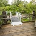 Mercer Slough Nature Park, boat dock adjacent to footbridge.- Mercer Slough Nature Park