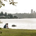 View of downtown Seattle from Calkins Point.- Luther Burbank Park
