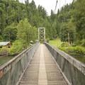 Tolt-MacDonald Park footbridge over the Snoqualmie River.- Tolt-MacDonald Park