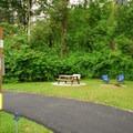 John MacDonald Memorial Campground typical RV site.- John MacDonald Memorial Campground