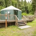 One of six yurts in John MacDonald Memorial Campground.- John MacDonald Memorial Campground