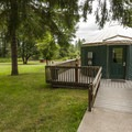 One of six yurts in John MacDonald Memorial Campground.- John MacDonald Memorial Campground