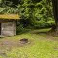John MacDonald Memorial Campground cabin and camping shelter.- John MacDonald Memorial Campground