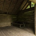 John MacDonald Memorial Campground cabin and camping shelter.- John MacDonald Memorial Campground