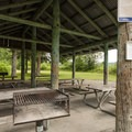 John MacDonald Memorial Campground north picnic shelter.- John MacDonald Memorial Campground