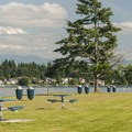 Mount Rainier (14,410') and Lake Tapps Park.- Lake Tapps Park