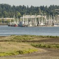 View of Swantown Marina and East Bay from Priest Point Park.- Priest Point Park