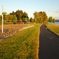 Louis Rasmussen Day Use Park sand volleyball courts and waterfront trail.- Louis Rasmussen Day Use Park