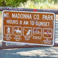 The trailhead and rules of the park.- Merry-Go-Round and Ridge Trail Loop