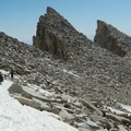 A small snowfield near the summit.- Mount Whitney, Cottonwood Pack Station