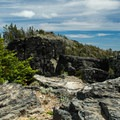 Rock formations along Lookout Mountain's summit.- Lookout Mountain from High Prairie