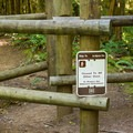 The entrance to the Burnt Lake Trail ensures that only hikers can pass.- Burnt Lake + Zigzag Mountain