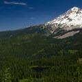 Burnt Lake and Mount Hood (11,249').- Burnt Lake + Zigzag Mountain