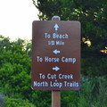 Trail sign.- Bullards Beach State Park Campground