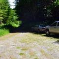The parking area at Harris Ranch Trailhead.- Harris Ranch Trail