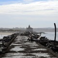 The lighthouse viewed from the jetty.- Coquille River Lighthouse