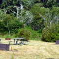 Picnic area with horseshoe pits.- Bullards Beach State Park