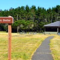 West picnic shelter at Bullards Beach State Park.- Bullards Beach State Park