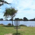 A disc golf hole at Berkeley Aquatic Park.- Aquatic Park