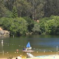Lifeguards monitor Lake Anza daily in summer months.- Lake Anza