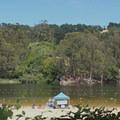 The beach and designated swimming area at Lake Anza.- Lake Anza Trail