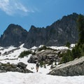 View of The Tooth from the talus field.- The Tooth