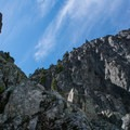 View looking up the east face.- The Tooth