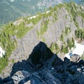 The Tooth's shadow projected on Denny Mountain.- The Tooth