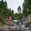 Multiple small stream crossings on the descent.- The Tooth