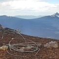 The summit once housed a fire tower. Today, this wire is most of what remains.- Black Crater