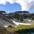 Table Mountain (5,700') from Bagley Lakes.- Table Mountain