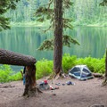 Swimming by the lake, with space for several tents.- Olallie Lake