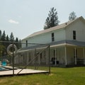 The heated swimming pool, fed by the hot springs, sits alongside the hotel.- Ritter Hot Springs