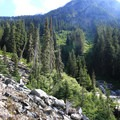 The trail approaches the falls.- Snowshoe + Keekwulee Falls via Denny Creek Trail