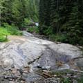 The slide at Denny Creek.- Snowshoe + Keekwulee Falls via Denny Creek Trail