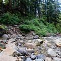 Crossing Denny Creek can be difficult at high water.- Snowshoe + Keekwulee Falls via Denny Creek Trail