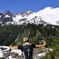 Taking a break to admire Mount Baker (10,781') and the Black Buttes.- Park Butte